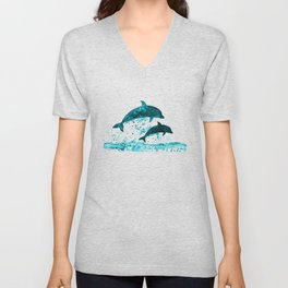 Dolphins, navy blue Unisex V-Neck