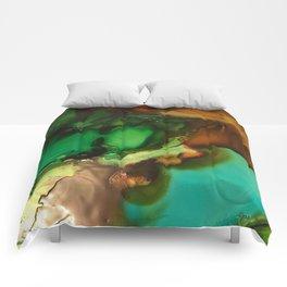 Melting Crystals, Green, Yellow, Brown an Aqua Comforters