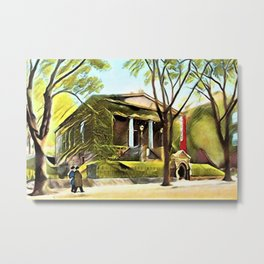 Providence Athenæum Library Benefit Street Landscape Painting by Jeanpaul Ferro Metal Print