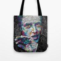 christopher walken Tote Bags featuring christopher walken portrait  by Godhead