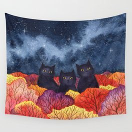 Three Black Cats in Autumn Watercolor Wall Tapestry