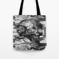 psychadelic Tote Bags featuring Black and White Psychadelic skull print  by Mermaid Seawolf