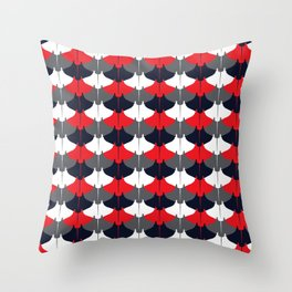 Manta Ray Pattern (Blue and Red) Throw Pillow