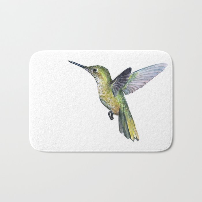 Hummingbird Watercolor Bird Animal Bath Mat