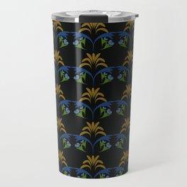 Black Wheat Floral Travel Mug