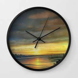 Captivating Sunset Over The Harbor Wall Clock
