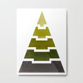 Olive Green Aztec Pyramid Triangle Egypt Minimalist Mid Century Modern Watercolor Geometric Pattern Metal Print