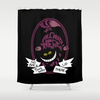 cheshire cat Shower Curtains featuring Cheshire by Nados