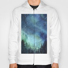 Galaxy Watercolor Space Night Sky Nebula Painting Aurora Hoody
