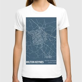Milton Keynes Blueprint Street Map, Milton Keynes Colour Map Prints T-shirt