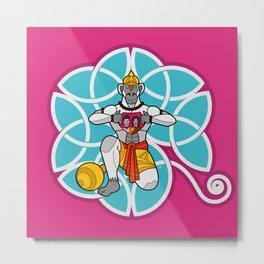 Hanuman's Heart Cyan Metal Print