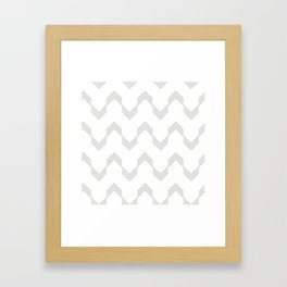 Simply Deconstructed Chevron Retro Gray on White Framed Art Print