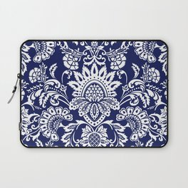 damask in white and blue Laptop Sleeve