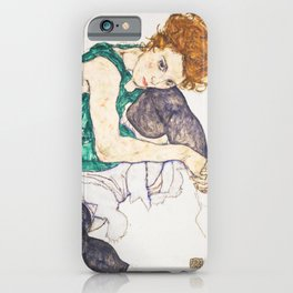 Girl sitting with knees up by Egon Schiele iPhone Case