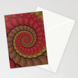 Red and Orange Hippie Fractal Pattern Stationery Cards