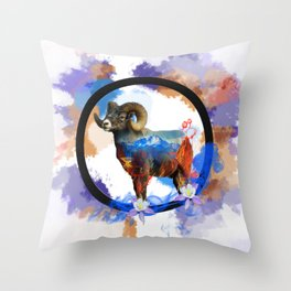 CO Big Horn Sheep Sunset Throw Pillow