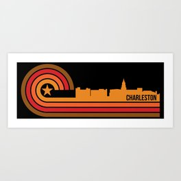 Retro Charleston South Carolina Skyline Art Print