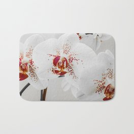 Black and White Orchid With Red Highlights Bath Mat