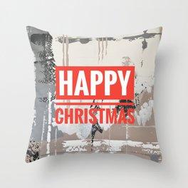 Snowfall - Happy Christmas Throw Pillow