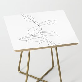 One line minimal plant leaves drawing - Berry Side Table