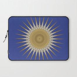 Bright Blue Gold Star Mandala Laptop Sleeve