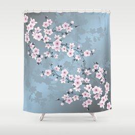 Dusky Pink Grayish Blue Cherry Blossom Shower Curtain