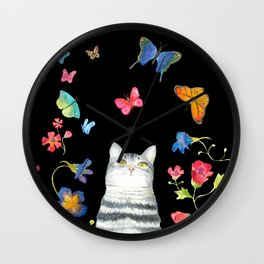 Tabby Cat with Butterflies and Flowers Wall Clock