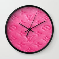 lv Wall Clocks featuring Pink LV by Luxe Glam Decor