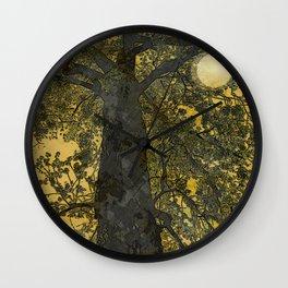 Pecan Tree and Moon Wall Clock