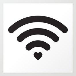 Love & WiFi - Black & White Art Print