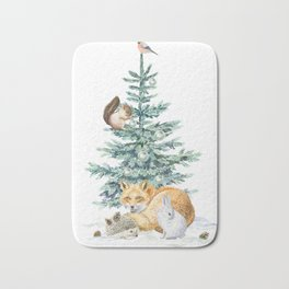 christmas tree in the forest Bath Mat