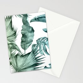 Tropical Palm Leaves Turquoise Green Blue Gradient Stationery Cards