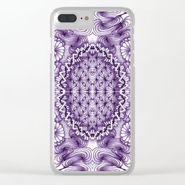 Grape Wash Zentangle Tile Doodle Design Clear iPhone Case