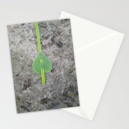 Green leaf on a line Stationery Cards