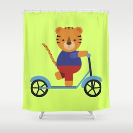 Tiger on Scooter Shower Curtain