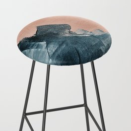 Renew: a minimal abstract piece in coral and blue by Alyssa Hamilton Art Bar Stool