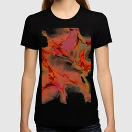 Pink Curves Tangerine Clefts Abstract T-shirt