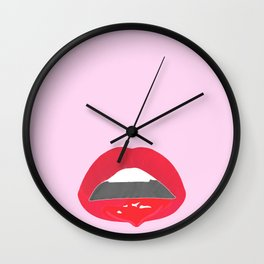 red dripping lips Wall Clock