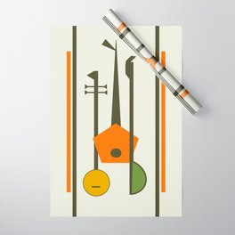 Mid-Century Modern Art Musical Strings Wrapping Paper