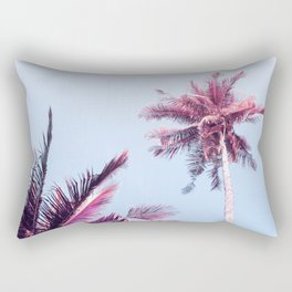 Pink Coco Palm Trees on Blue Sky Tropical Summer Poster Rectangular Pillow