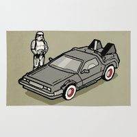delorean Area & Throw Rugs featuring Stormtrooper and his Delorean by Vin Zzep