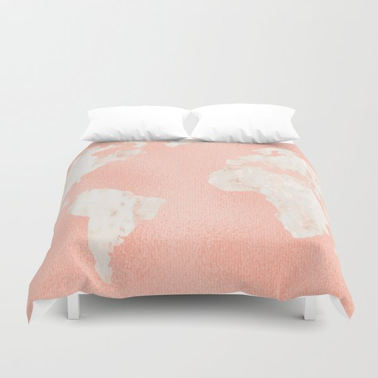 Pink Rose Gold World Map Duvet Cover By Mapmaker Society6