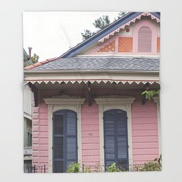 New Orleans Pink Creole Cottage Throw Blanket