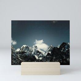 Dark Teal Mountain Peaks Mini Art Print