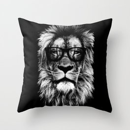 Hipster Lion Black Throw Pillow