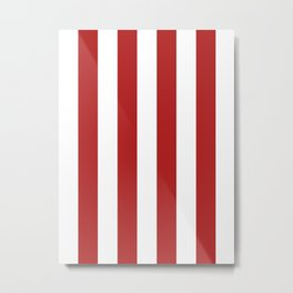 Vertical Stripes - White and Firebrick Red Metal Print