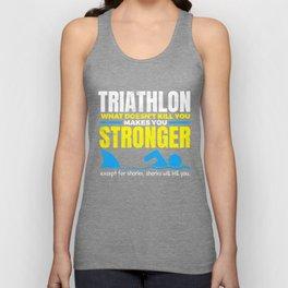 Funny Triathlon What Does Not Kill You Shark  Unisex Tank Top