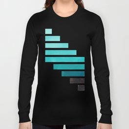 Blue Teal Turqoise Midcentury Modern Minimalist Staggered Stripes Rectangle Geometric Aztec Pattern Long Sleeve T-shirt