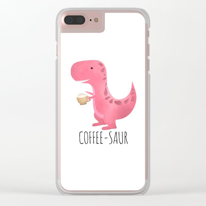 Coffee-saur | Pink Clear iPhone Case