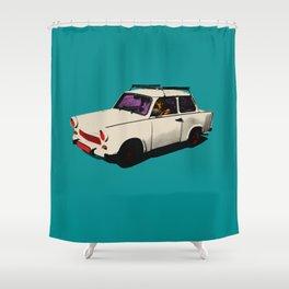 Trabant white pop Shower Curtain
